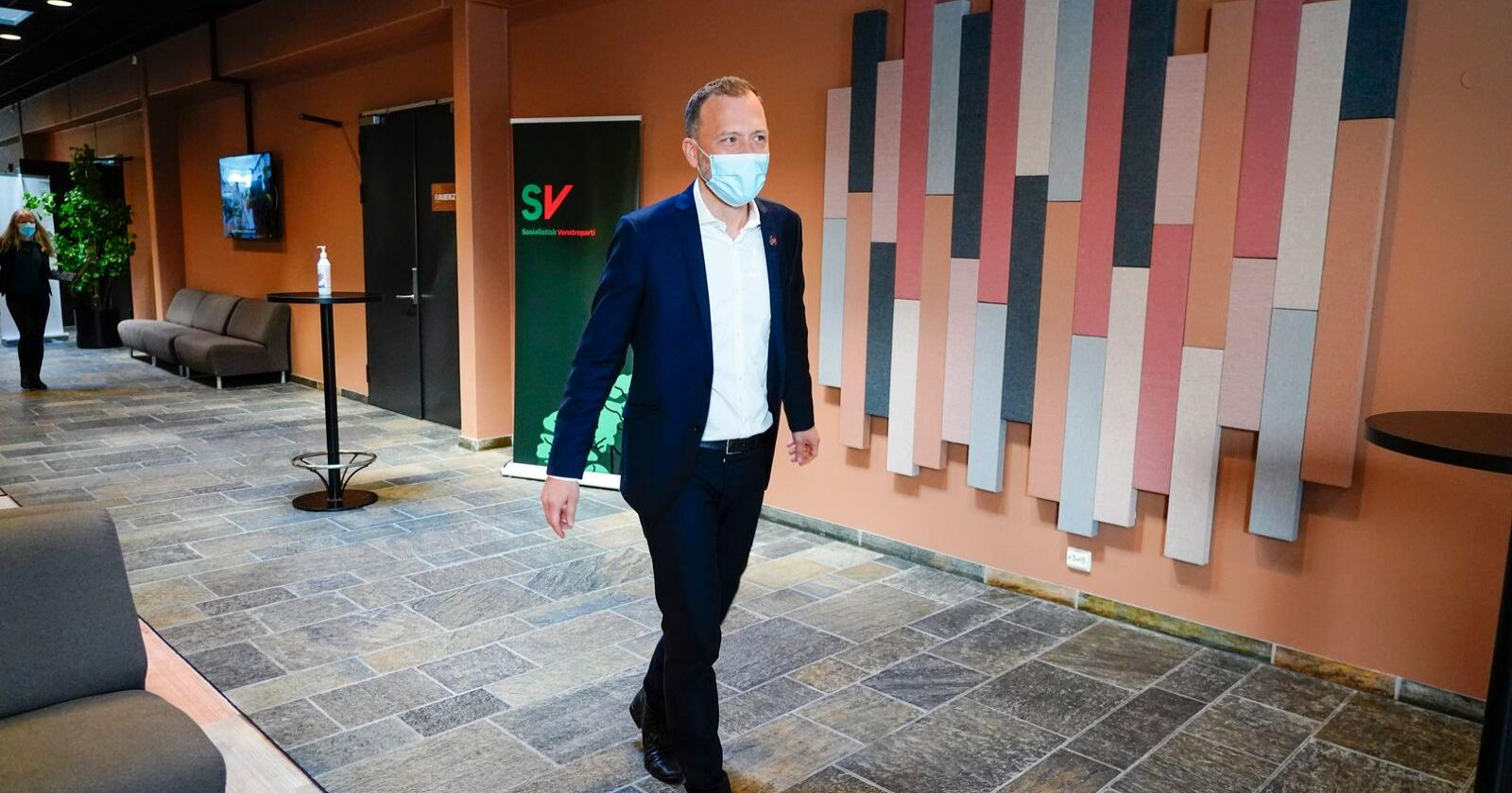 Partileder Audun Lysbakken (SV) under landsmøtet på Hamar fredag.Foto: Terje Pedersen / NTB