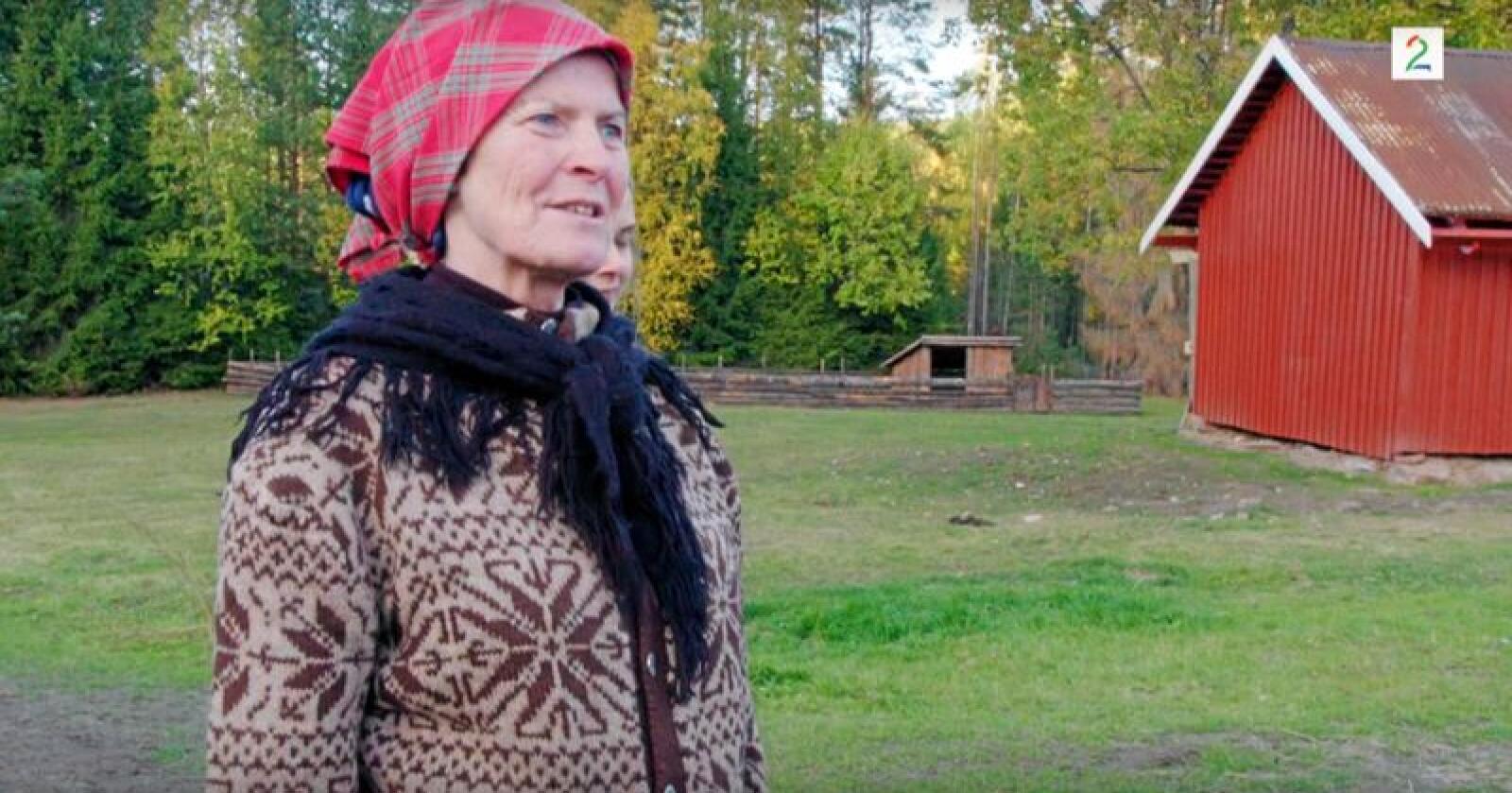 Merete Furuberg kom til Farmen for å  hente mohairgeitene som har levd kjendislivet på garden Gjedtjernet i sommar. Foto frå programmet, brukt med løyve frå TV 2