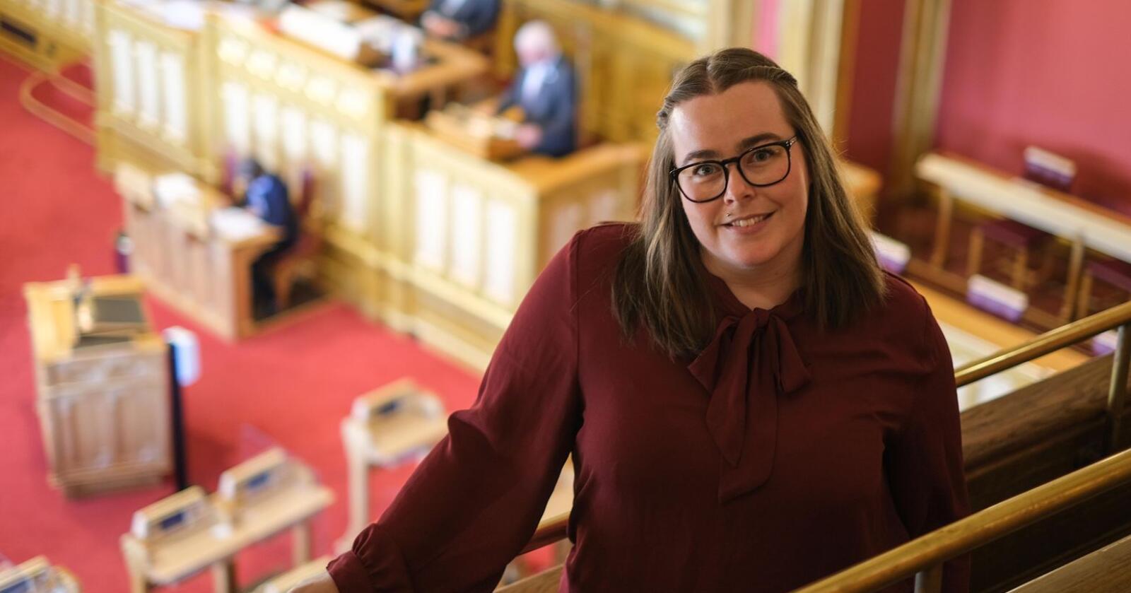 – Nå har folk fått opp øynene for verdiene av et godt og stort landbruk, og det kan ikke drives på dugnad, sier Katrine Boel Gregussen fra SV. Foto: SV