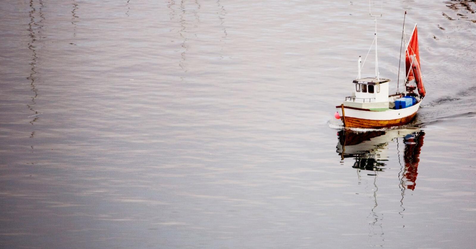 MIDTNATT: En fiskebåt kjører inn til havnen i fiskeriministerens hjemby, Bodø, ved midnatt etter endt fiske. Ministeren minner om at vi har så mye fisk i Norge at vi ikke vil gå tom for mat. Foto: Kyrre Lien / SCANPIX