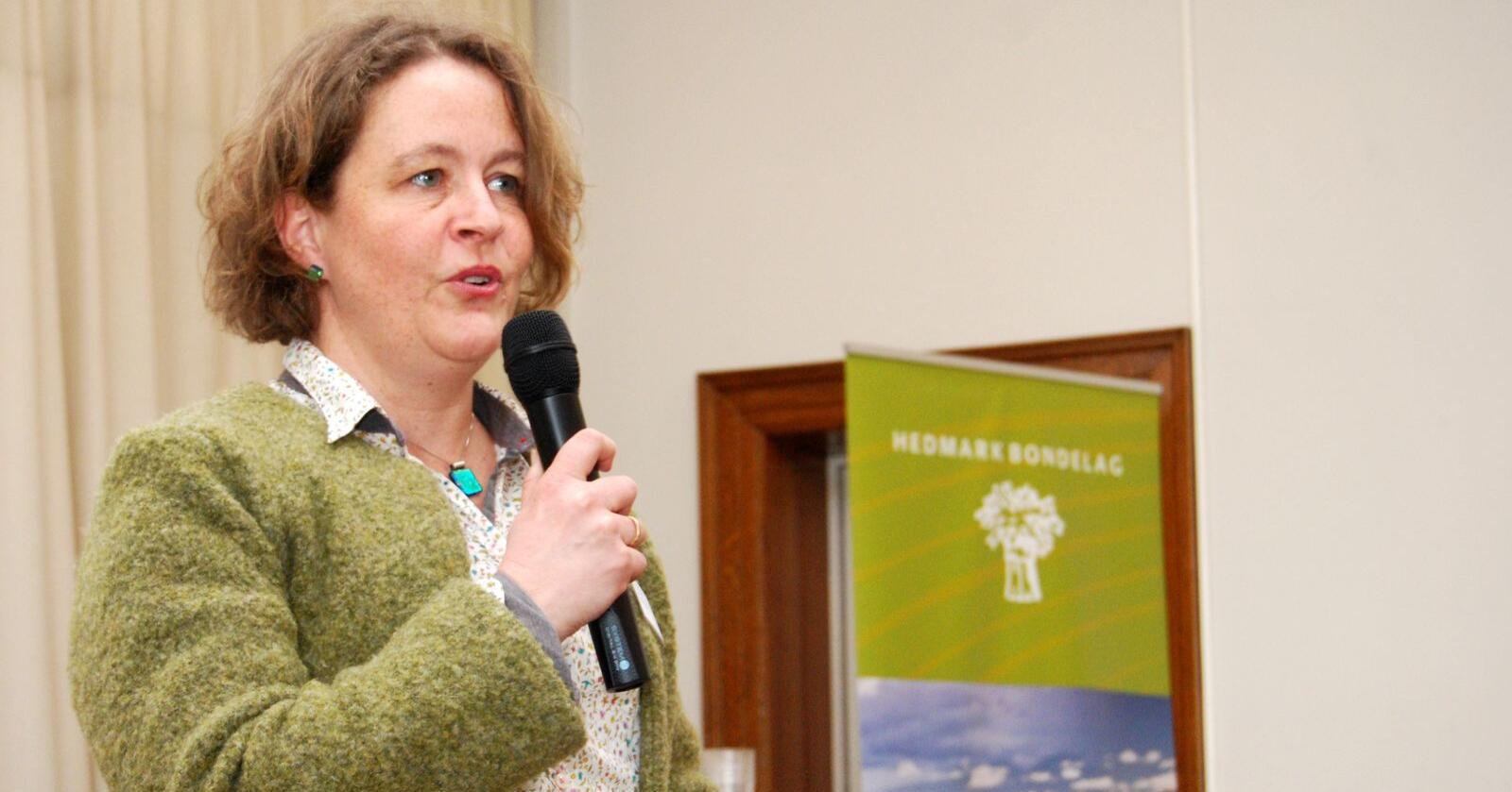 Utsatt: Elisabeth Gjems (bildet) og Kristina Hegge forteller at sammenslåingen av de to fylkeslagene vil bli utsatt på grunn av koronaviruset. (Foto: Guro Breck)