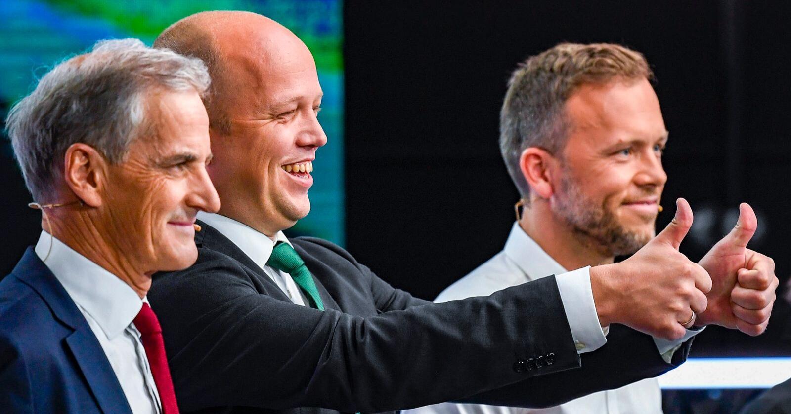 Partilederne JonasGahr Støre (Ap), Trygve Slagsvold Vedum (Sp) og Audun Lysbakken (SV) under en partilederdebatt hos TV 2. Foto: Marit Hommedal / NTB scanpix
