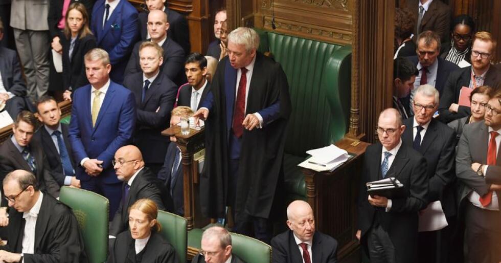 John Bercow avviste regjeringens forslag til å fremme brexitavtalen på nytt mandag, bare to dager etter at Underhuset vedtok at de nødvendige lovforslagene må gjennomføres før det stemmes over selve avtalen. Jessica Taylor / House of Commons / AP / NTB scanpix
