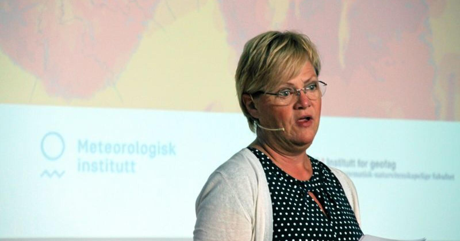 Kristin Halvorsen, direktør ved Cicero, ledet frokostseminaret Det rare været på Sentralen i Oslo torsdag. Foto: Lars Bilit Hagen