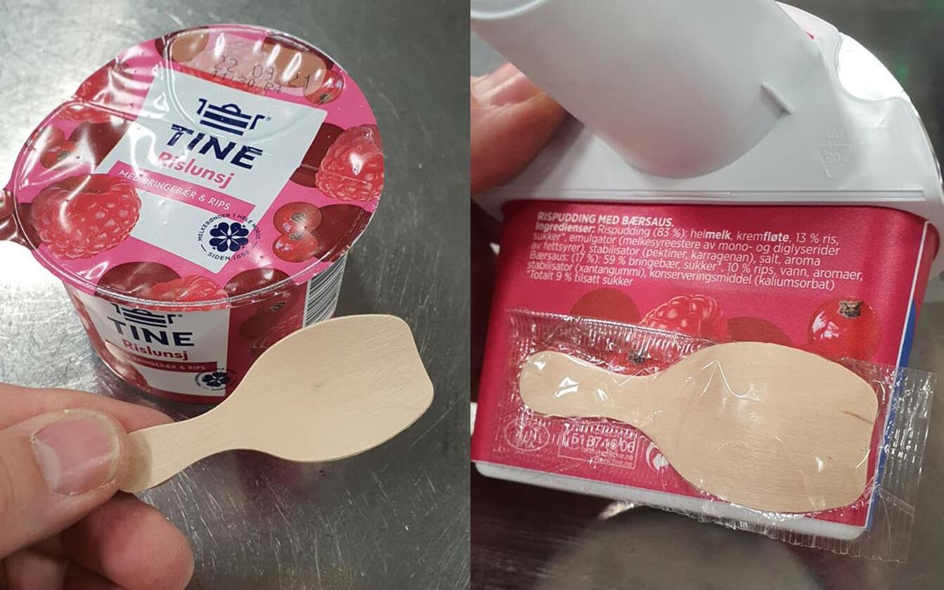 Slik ser Tines nye og midlertidige treskje for yoghurter ut. Flere forbrukere har klaget på at skjeen er for kort og at den smaker tre. Foto: Tine Meieriet Tretten/Facebook