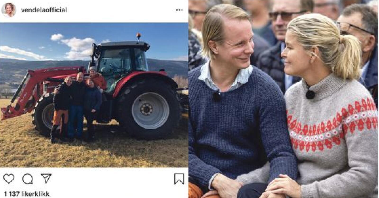 Petter Pilgaard og Vendela Kirsebomunder klimadebatten på Dyrsku'n i Seljord. Farmen-oppholdet og Dyrsku'n har ga mersmak. Paret har nå vært avløsere på en gård i Vang. Fotokollasj: Tore Meek / NTB scanpix og skjermdump fra Instagram