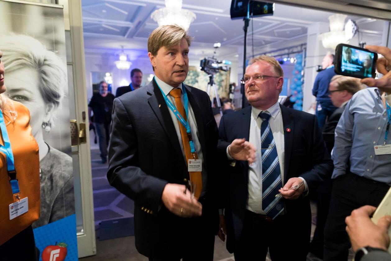 Ikkje overraska: Framstegspartiets Christian Tybring-Gjedde, her med partifellen Per Sandberg, er ikkje overraska over veljaranes haldning til norsk EU-medlemskap. Foto:Cornelius Poppe / NTB scanpix