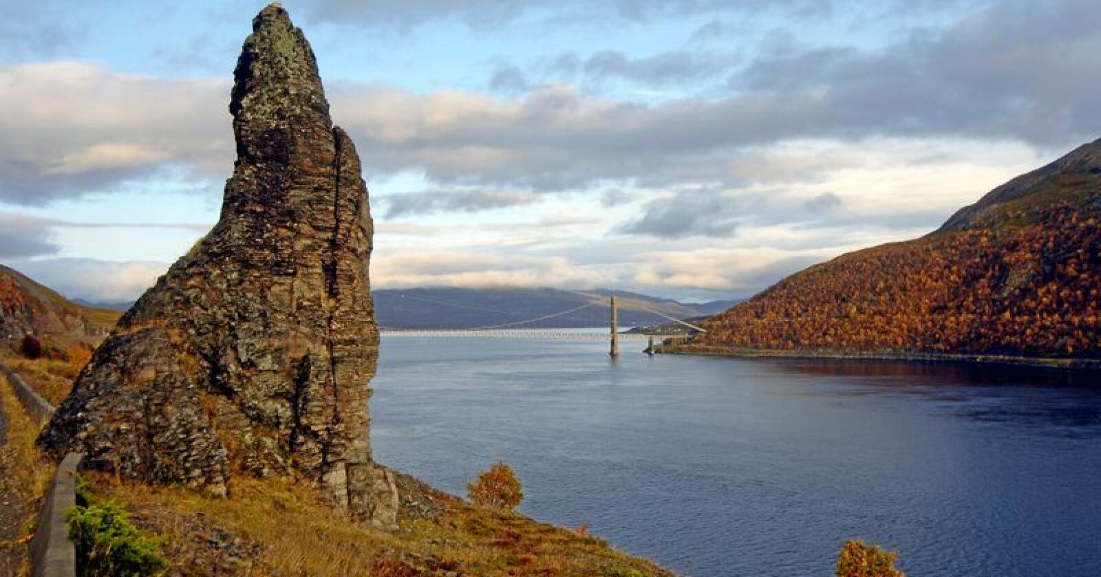 Kvalsund i Finnmark. Det er i Kvalsund kommune regjeringen vil tillate sjødeponi. Foto: Allan Klo / NTB scanpix