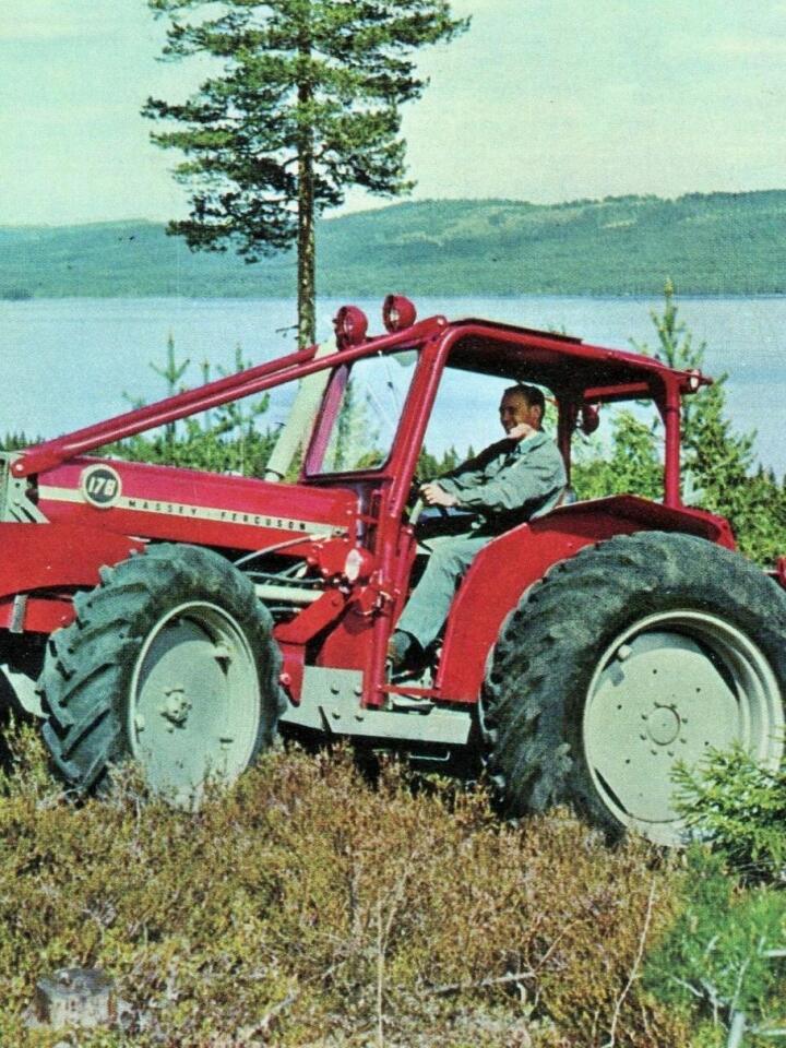 Super-Per: I 1968 lanserte Eikmaskin skogstraktoren Super-Per, med basis i en Massey Ferguson 178.