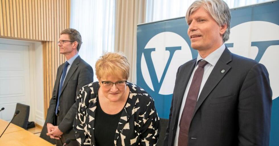 Venstres ledertrio Trine Skei Grande, Ola Elvestuen og Terje Breivik (t.v) er under press. Foto: Vidar Ruud / NTB scanpix