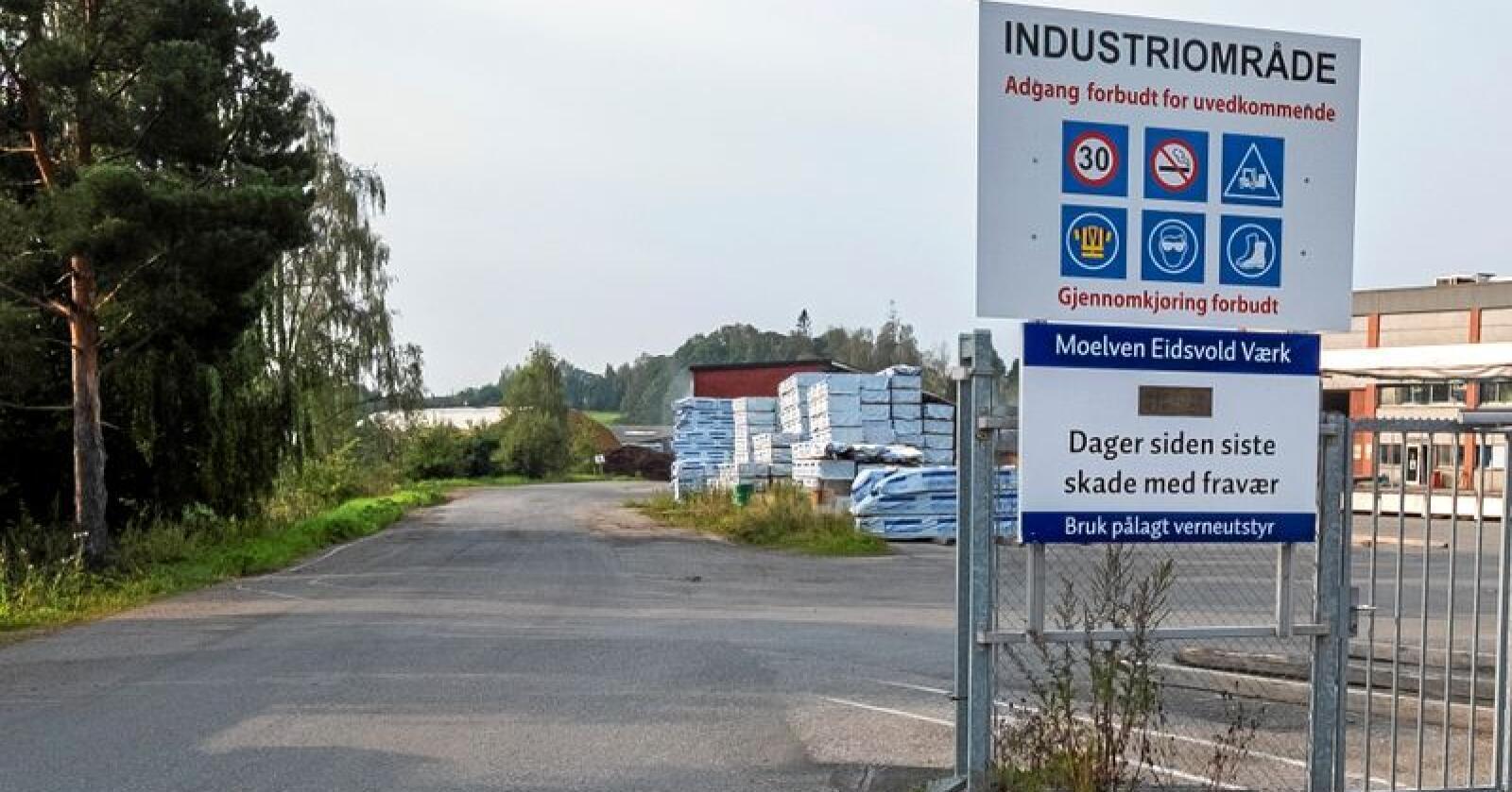 Moelven Eidsvold Værk kan bli lagt ned. Fabrikken har 60 ansatte. Foto: Moelven