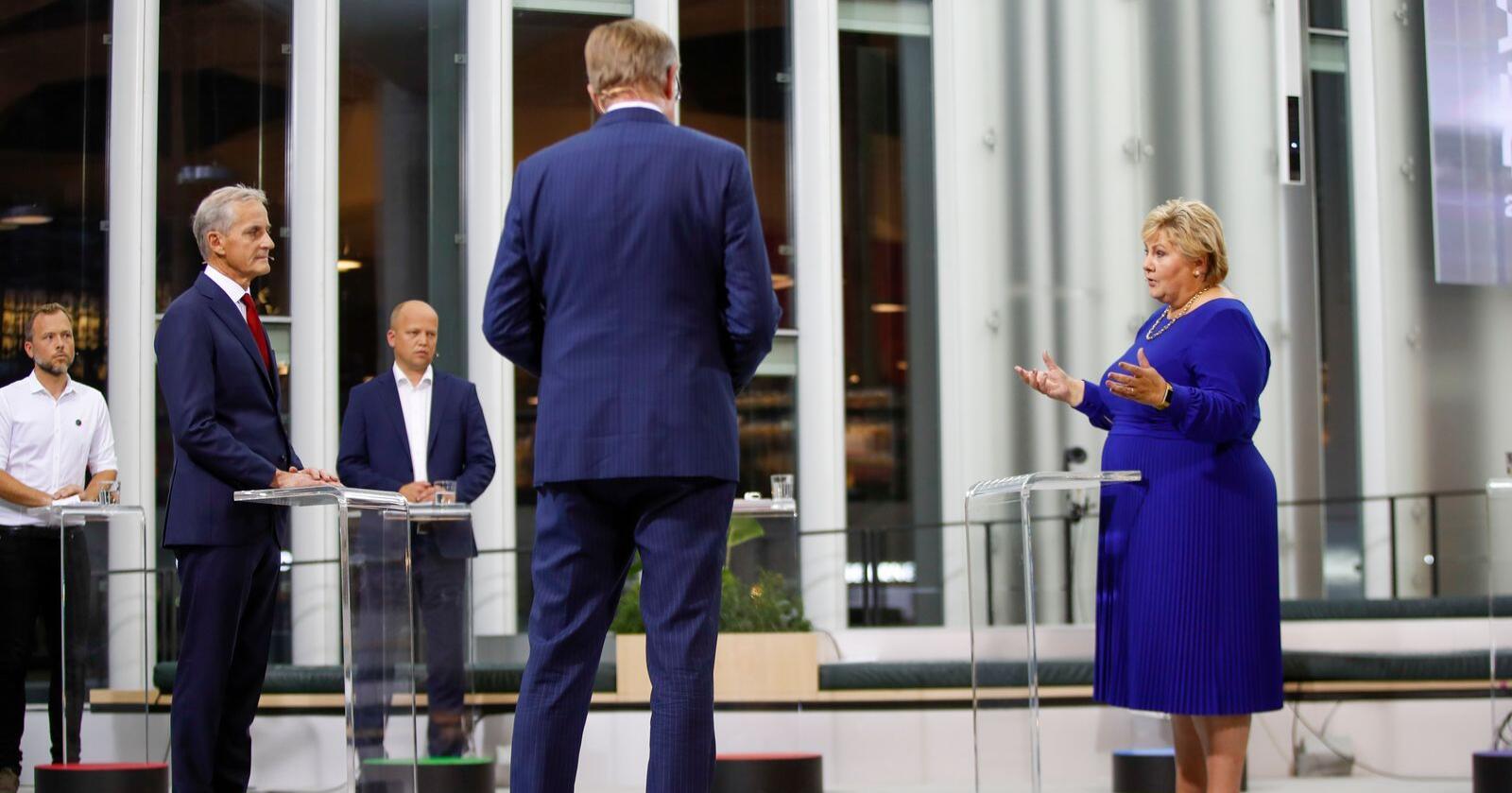 Sentrum/venstre: Audun Lysbakken (SV),  Jonas Gahr Støre (Ap) og Trygve Slagsvold Vedum (Sp) ligger an til å skifte ut statsminister Erna Solberg. Foto: Javad Parsa / NTB