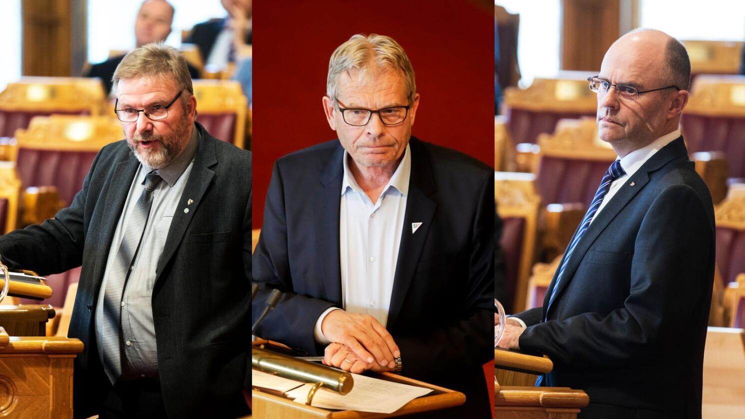 Frå høgre Steinar Reiten (KrF), Arne Nævra (SV) og Bent Fasteraunet (Sp) som ikkje ville hatt plass på Stortinget om dagens vallov hadde gjeldt ved stortingsvalet i 2017. Foto: NTB