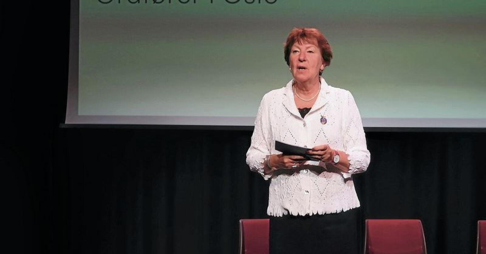 Marianne Borgen, ordfører i Oslo, påpeker viktigheten av at flere unge blir interesert i å delta i matproduksjonen. Foto: Jon-Fredrik Klausen