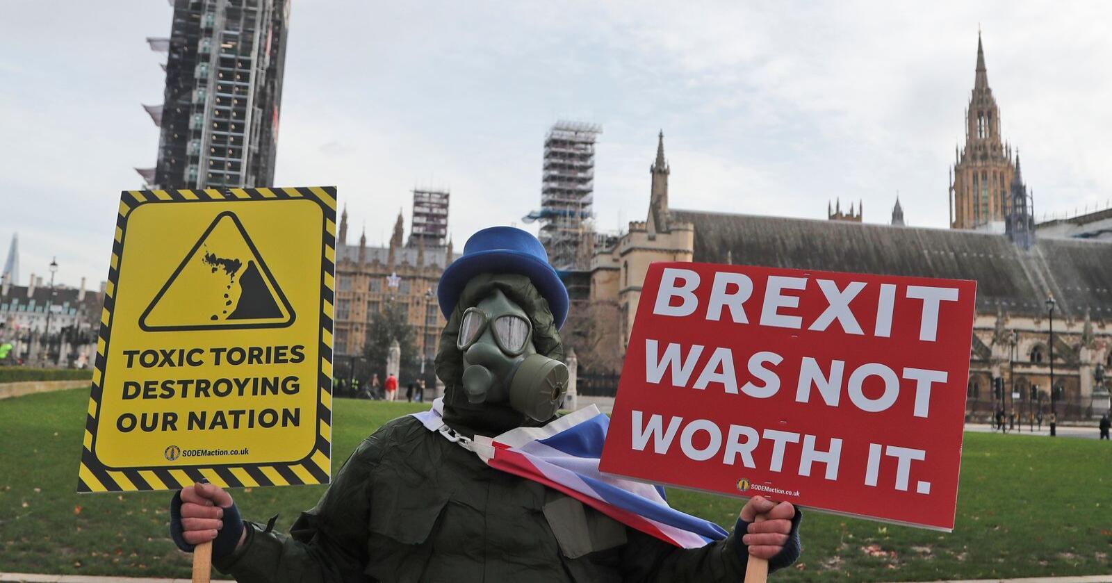 Mister fordeler: Britene mister fordelene ved EU-medlemskapet. Verken handelsavtalen eller WTO redder dem fra de nye handelshindringene. Foto: Frank Augstein / AP / NTB
