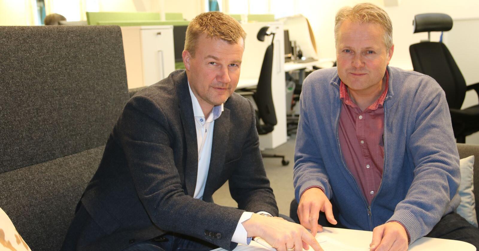 Kundene våre har talt, og vi har lyttet, mener konsernsjef Ole Laurits Lønnum (t.v.). Her sammen med styreleder Hans Edvard Torp. (Foto: Lars Olav Haug)