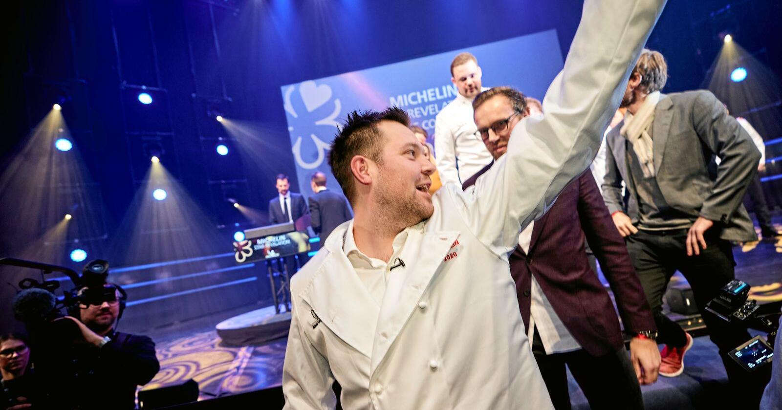 Stjernekokk: Christopher Davidsen og Restaurant Speilsalen fikk Trondheims tredje michelinstjerne. Snobberiets glansdager eller en boost for norsk jordbruk? Foto: Ole Martin Wold/NTB scanpix