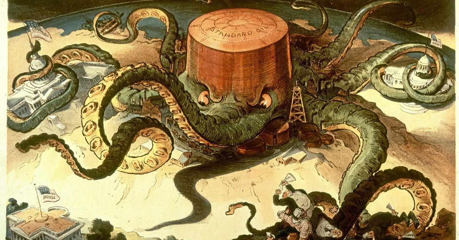 Blekksprut: Det gikk hardt for seg da oljegiganten Standard Oil ble oppløst i USA. Dette eren karikaturtegning fra 1904. Tegning: Udo Keppler/Wikimedia Commons