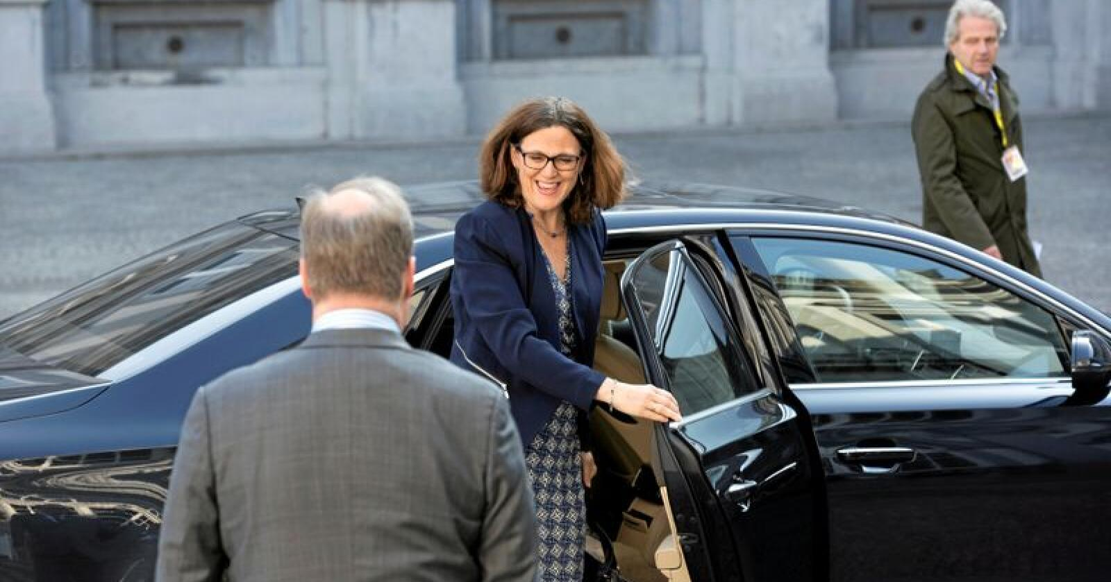 EUs handelskommisær Cecilia Malmström. Her på veg til møte i Alliance of Liberals and Democrats for Europe. Foto: ALDE Party / Flickr
