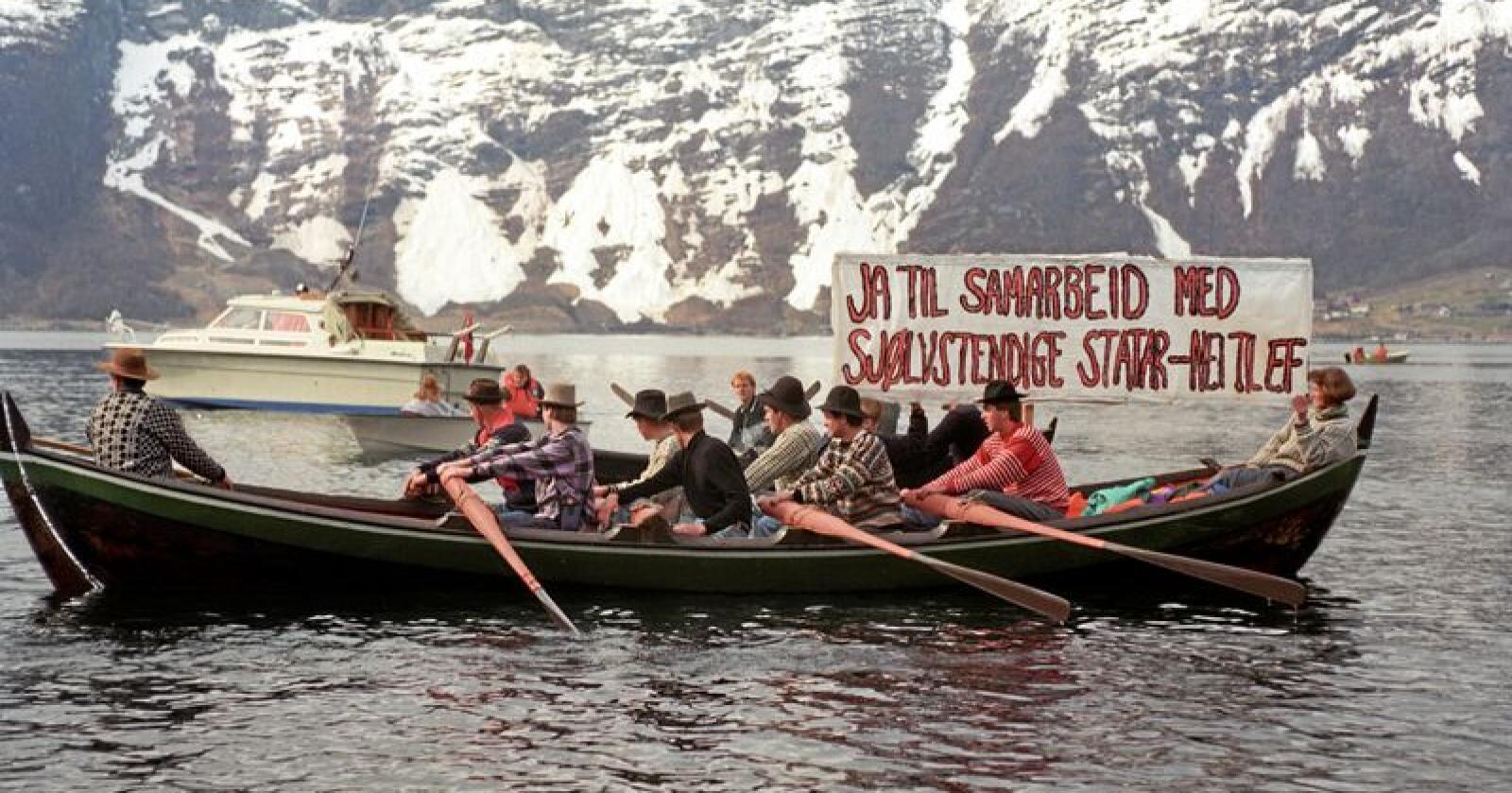 """Motmakt: Da statsminister Gro Harlem Brundtland skulle """"avsløre"""" sitt ja til EF i Hardanger i 1992, hadde motmakta allerede mobilisert. Foto: Agnete Brun/NTB scanpix"""