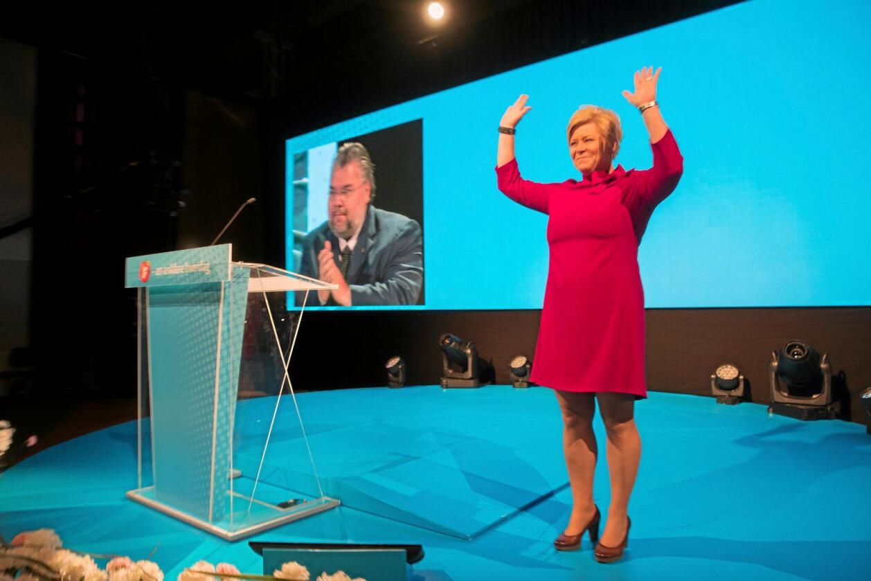 Dobbeltkommunikasjon: Partileder Siv Jensen og Frp vil framstå som protestparti samtidig som partiet er et regjeringsparti.  Foto: Vidar ruud, NTB scanpix.