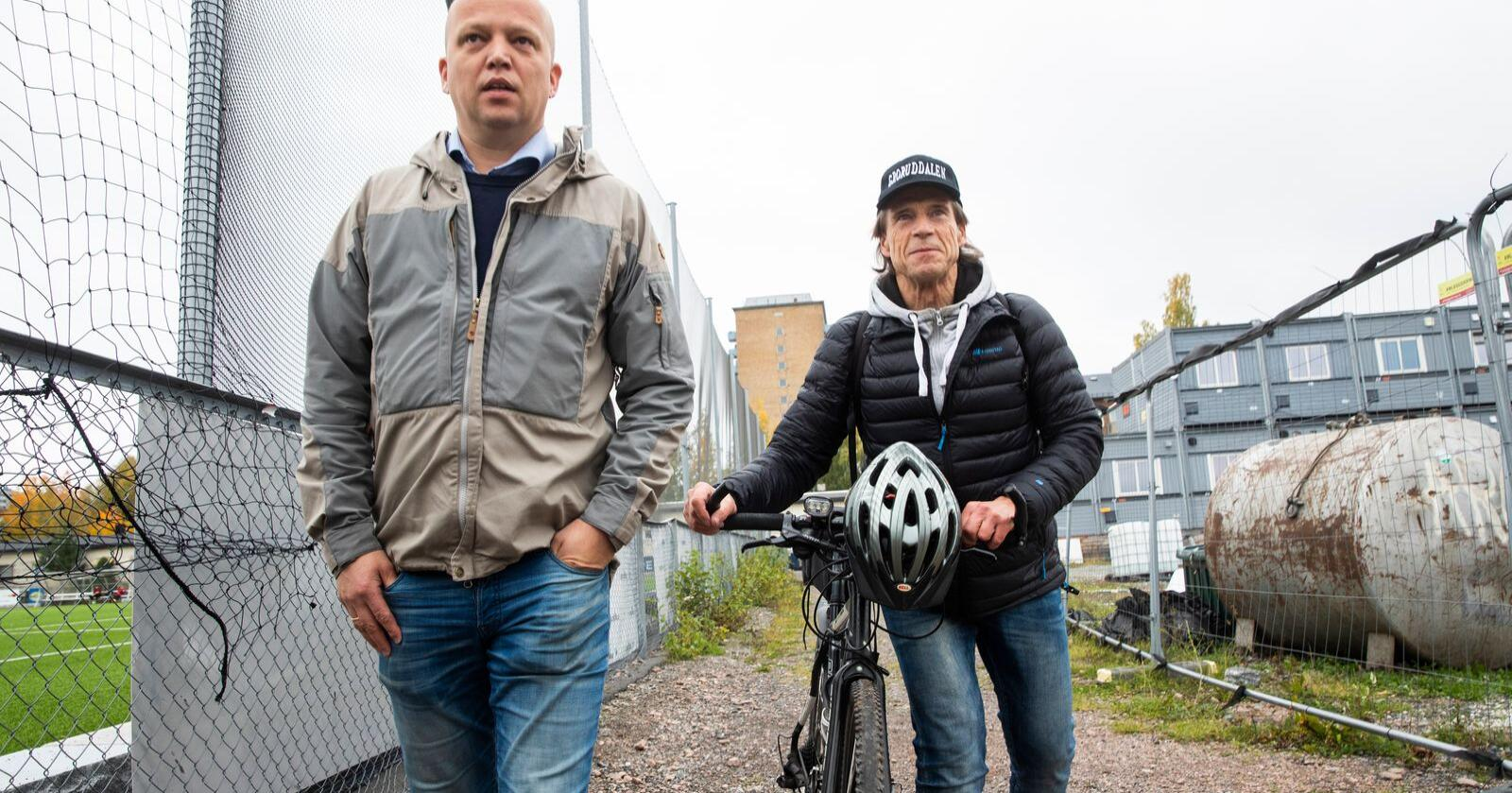 Opp og fram: Jan Bøhler (t.h.) og Sp-leder Trygve Slagsvold Vedum når nye høyder i både Oslo og Bergen. Foto: Berit Roald / NTB