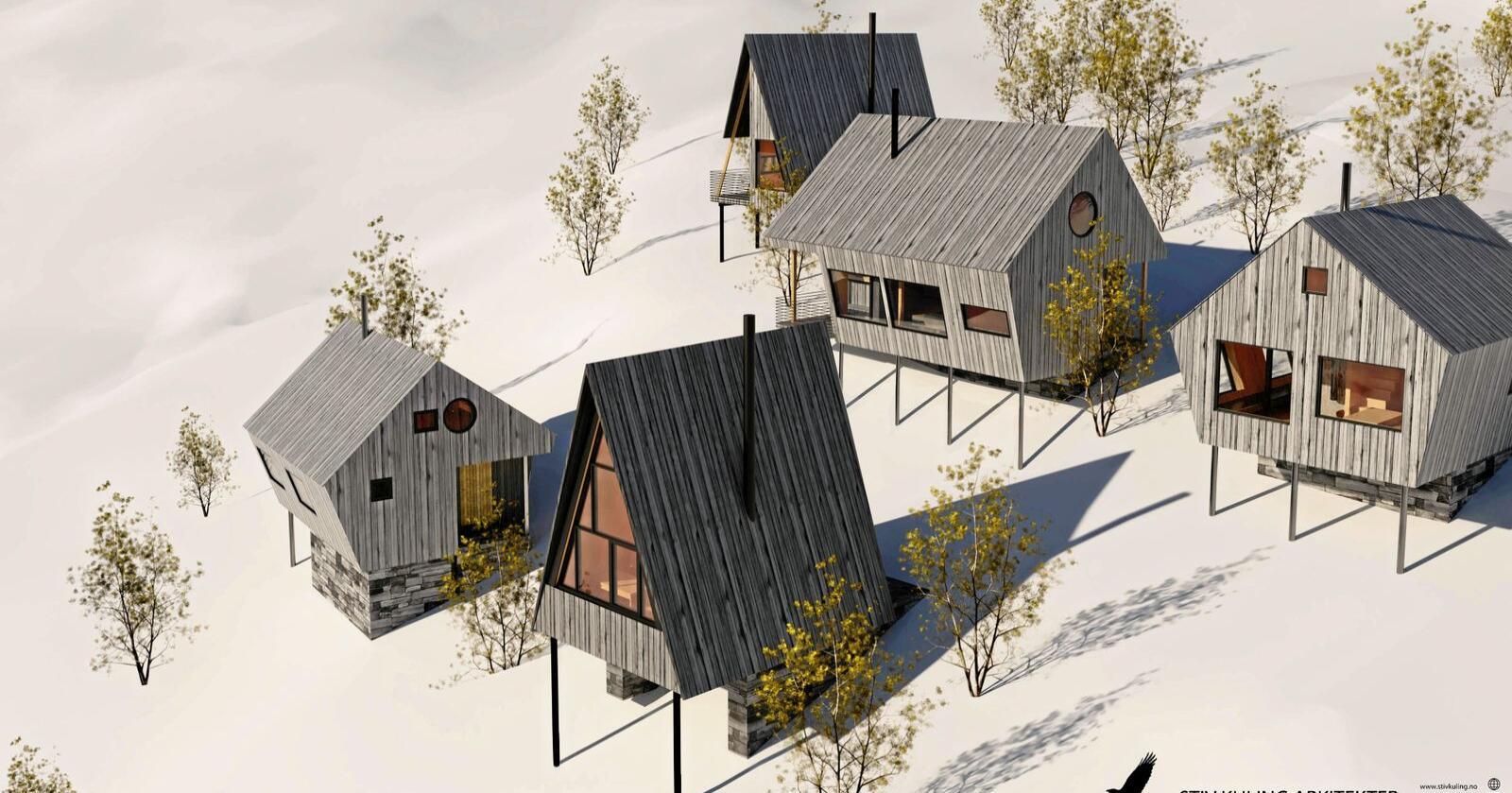 Klima og miljø: Fotavtrykket må reduseres dersom hyttene skal bli mer bærekraftige. Illustrasjon: Stiv Kuling Arkitekter / Sognefjord Utvikling