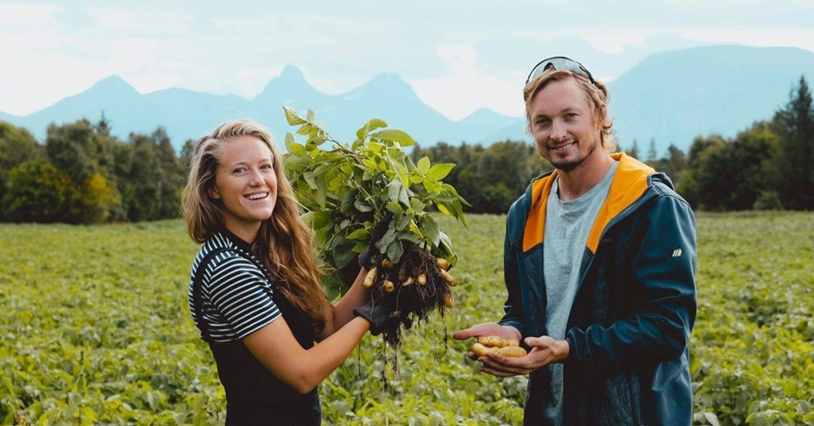 Dina Fonn Sætre og Henning Andreas Holand tok over garden til foreldra til Henning i 2018, etter søstrene hans ikkje ville ha odel. No dyrkar dei poteter i alle former og fargar. Foto: Privat
