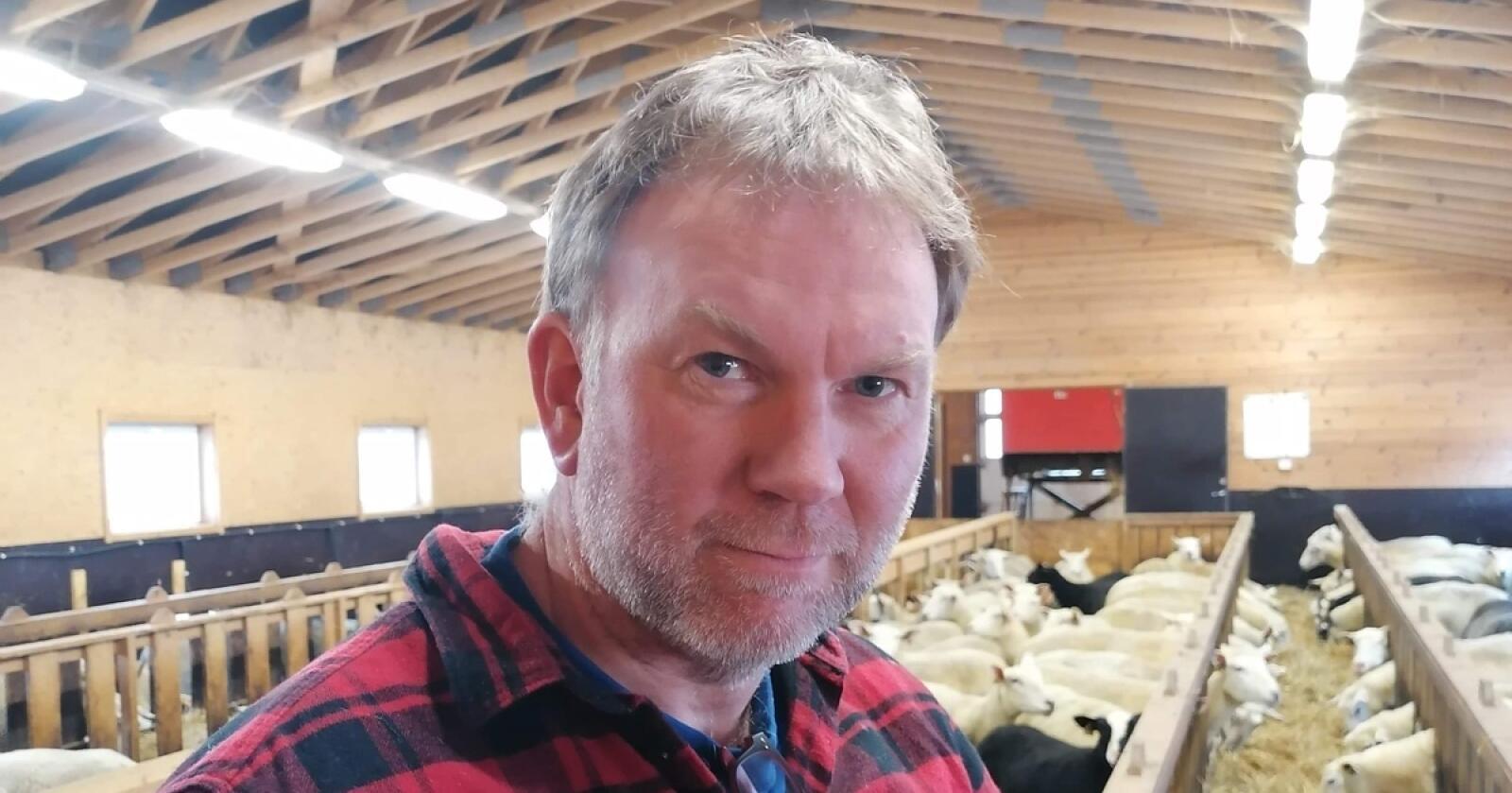 Årets første: Ronald Slemmen han 160 vinterfôra i fjøset. Han fikk årets første lam uventet tidlig, i uka før påske. (Foto: Privat)