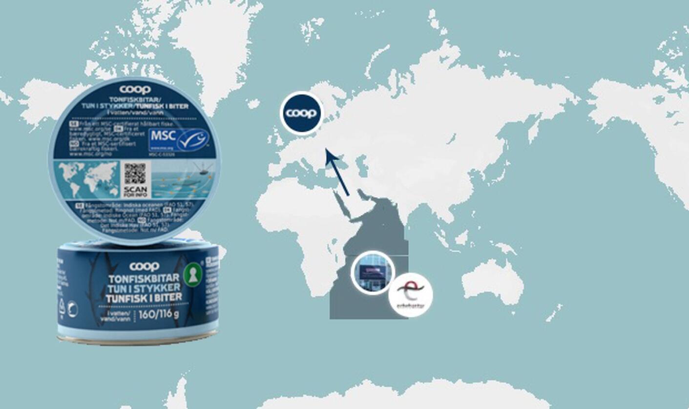 Ved å følge en QR-kode på tunfiskboksen kan kundene til Coop få informasjon om hele reisen til produktet, fra båt til butikk. Foto/kart: Coop Norge/Fredrik B. Lange