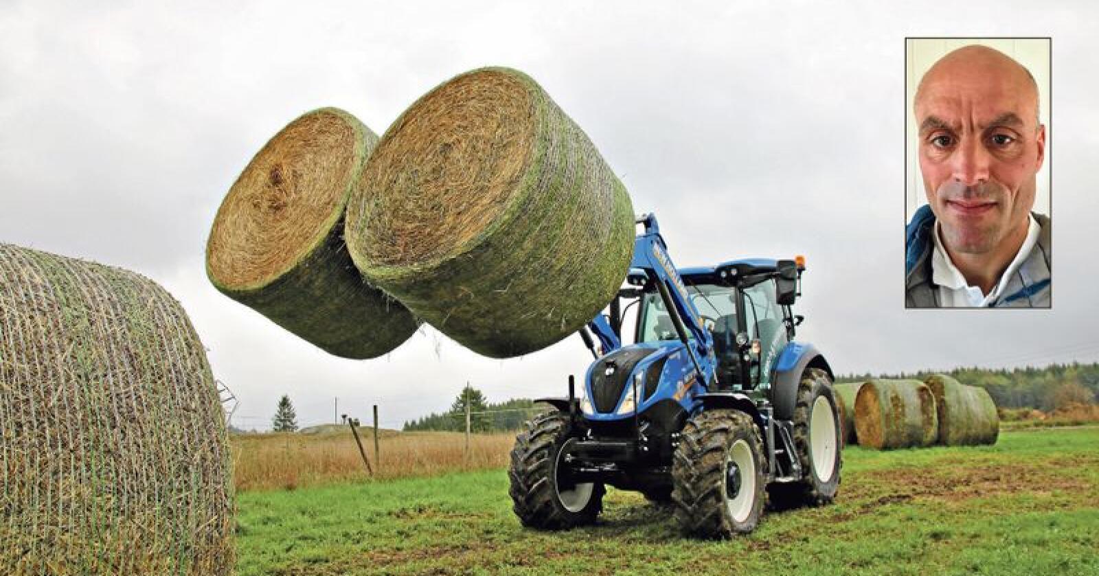 Melkebonde Leander Lysklett har liten sans for dem som nå presser prisene på grunn av tørke og fôrmangel. Foto: Trond Martin Wiersholm og privat (innfelt)