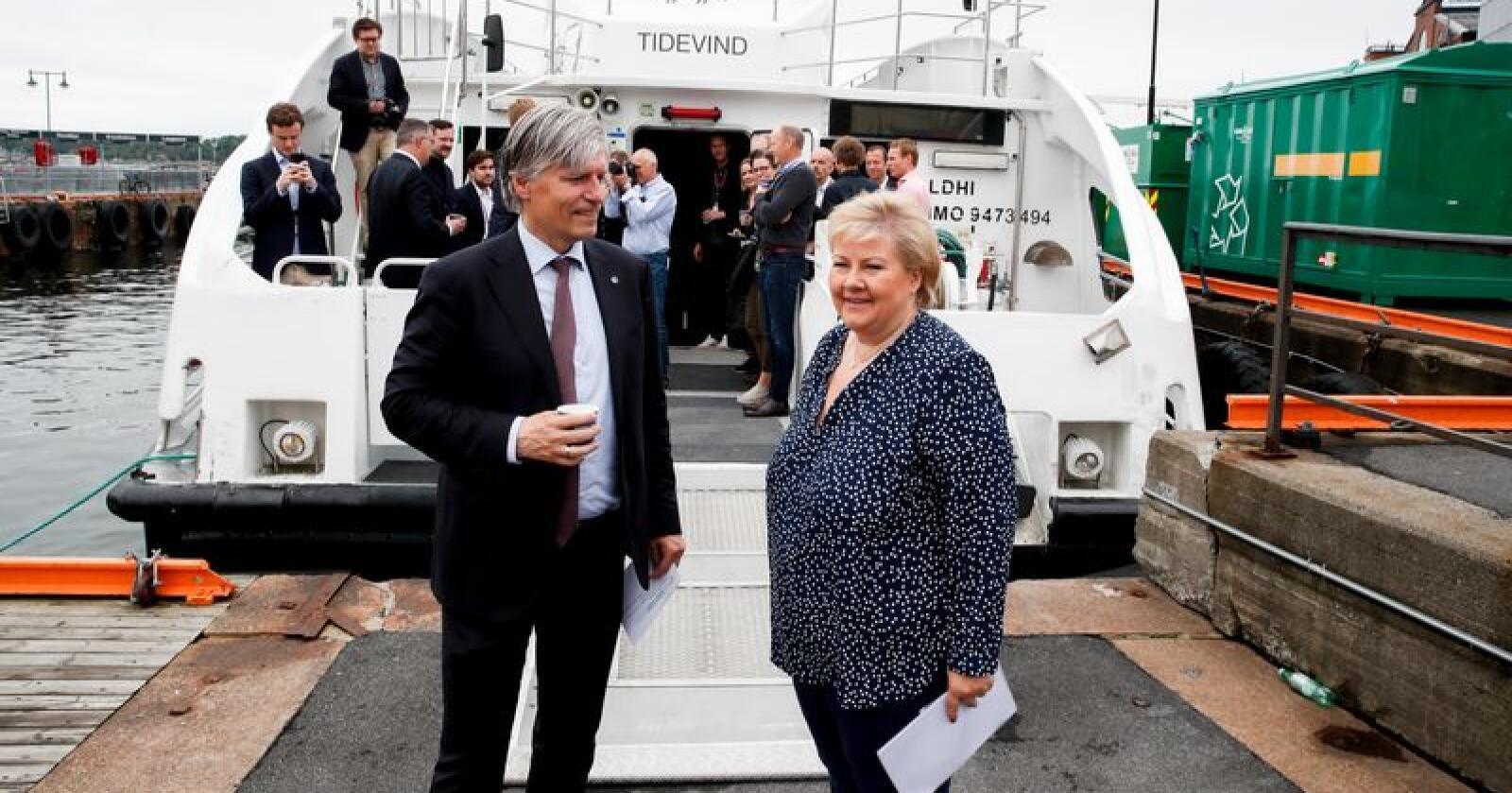 I juni la statsminister Erna Solberg og klima- og miljøminister Ola Elvestuen fram Regjeringens handlingsplan for grønn skipsfart. Foto: Vidar Ruud / NTB scanpix