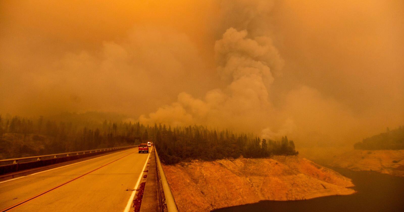 De voldsomme skogbrannene nord i California i USA har krevd sju nye menneskeliv. Minst 10 har funnet døde og 16 personer er fortsatt savnet. Foto: Noah Berger / AP / NTB scanpix