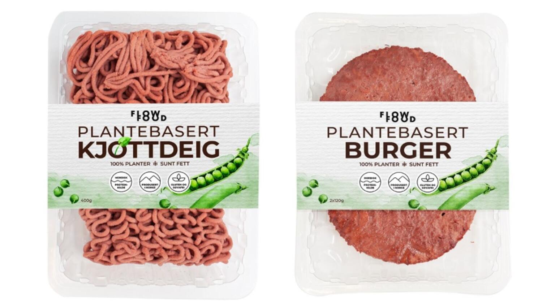 Disse to produktene fra Flowfood er produsert i Norge og består av hundre prosent planter. Flere reagerer på at vegetabilske produkter som dette bruker begreper som «kjøttdeig» og «burger». Foto: Flowfood