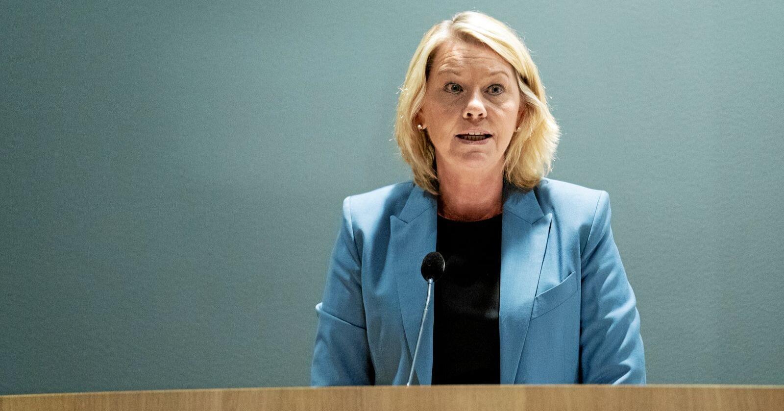 Ny melding: Justis- og beredskapsminister Monica Mæland la tirsdag fram stortingsmelding om politiet. Foto: Fredrik Hagen / NTB scanpix