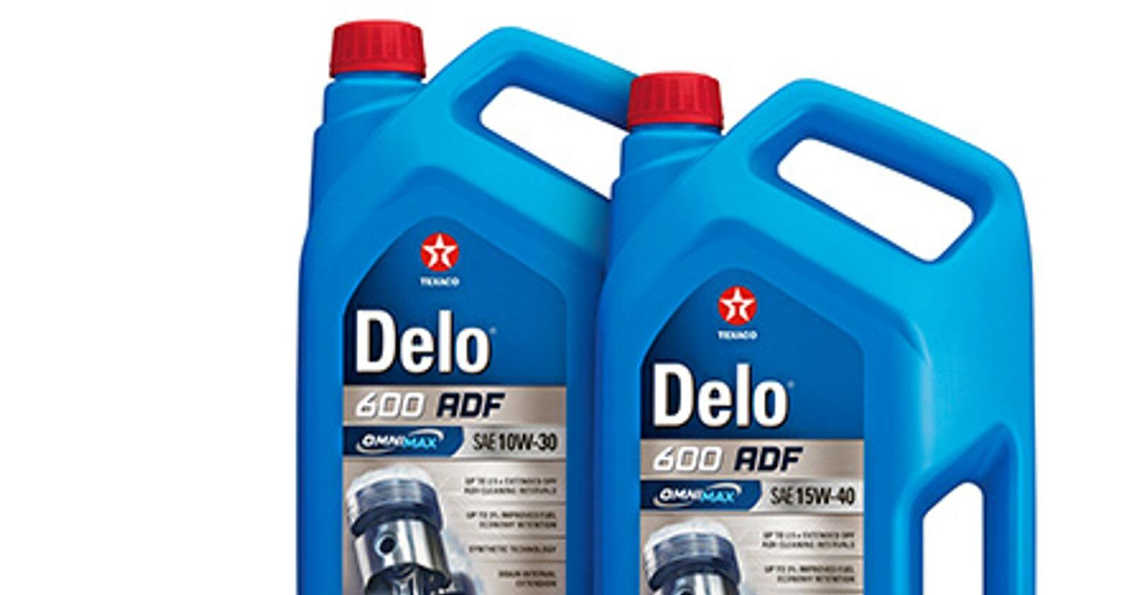 Texaco Delo 600 ADF finnes i viskositetene 10W30 og 15W-40