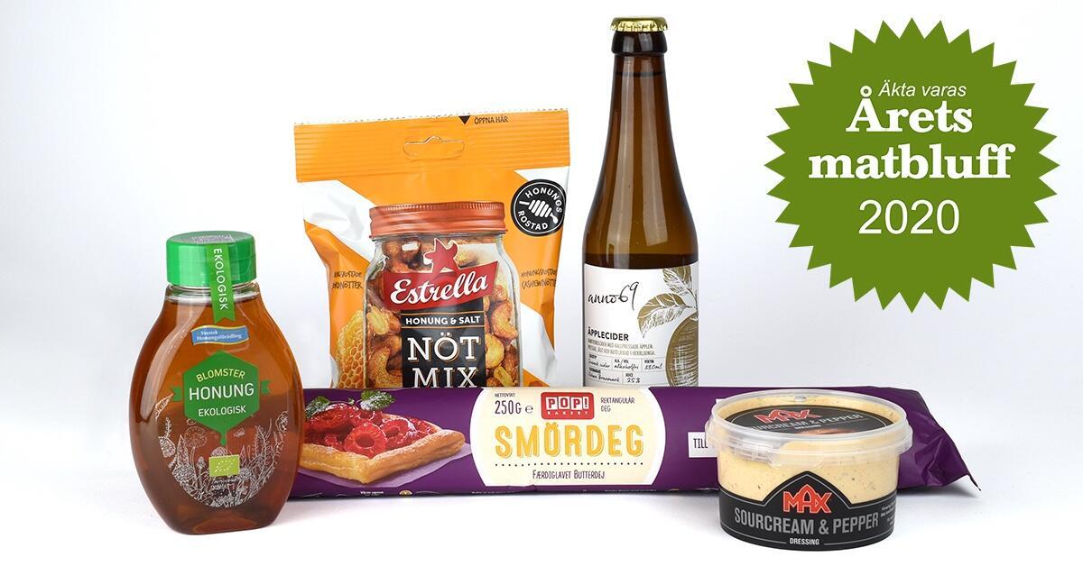 Disse produktene er nominert til årets matbløff av den svenske organisasjonen Äkta vara. Foto: Äkta vara