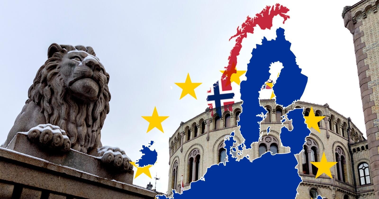 Norge nærmer seg staidig EU viser Sentios EU- og EØS-barometer for mai 2021, gjennomført på oppdrag for Nationen og Klassekampen.  Foto: Gorm Kallestad / NTB Illustrasjon: Eskild Johansen/Nationen
