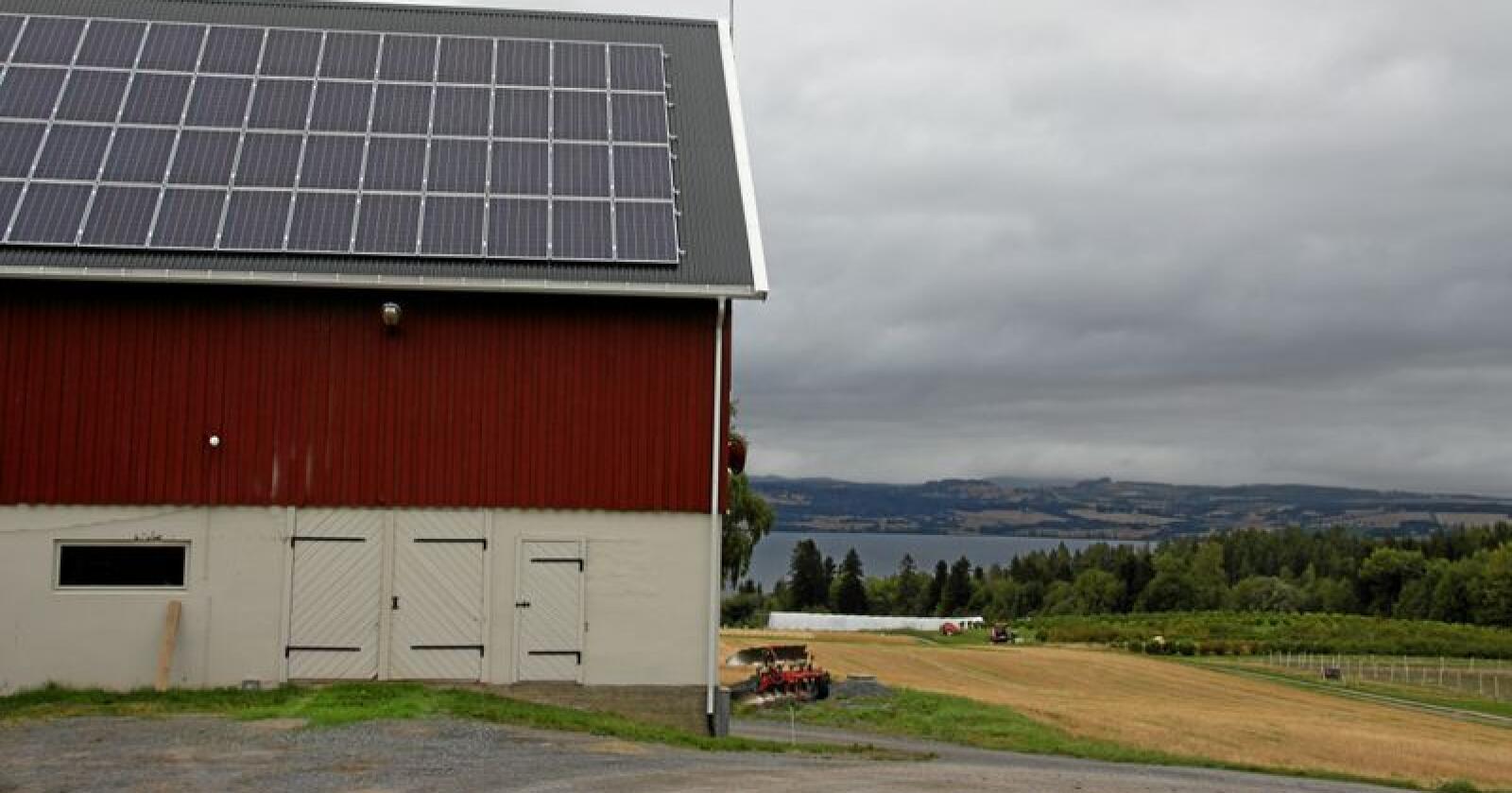 MDG vil legge solceller på 15 prosent av takene i landbruket. Foto: Lars Bilit Hagen