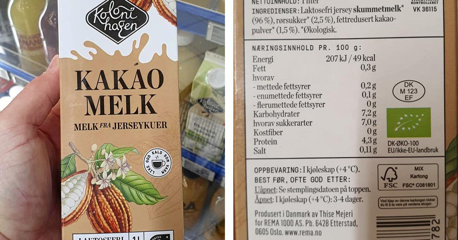 Dette produktet fra Kolonihagen, «Kakaomelk - Melk fra jerseykuer», selges som EMV-vare hos Rema 1000. Ikke alle er klar over at melken produseres i Danmark. Foto: Privat