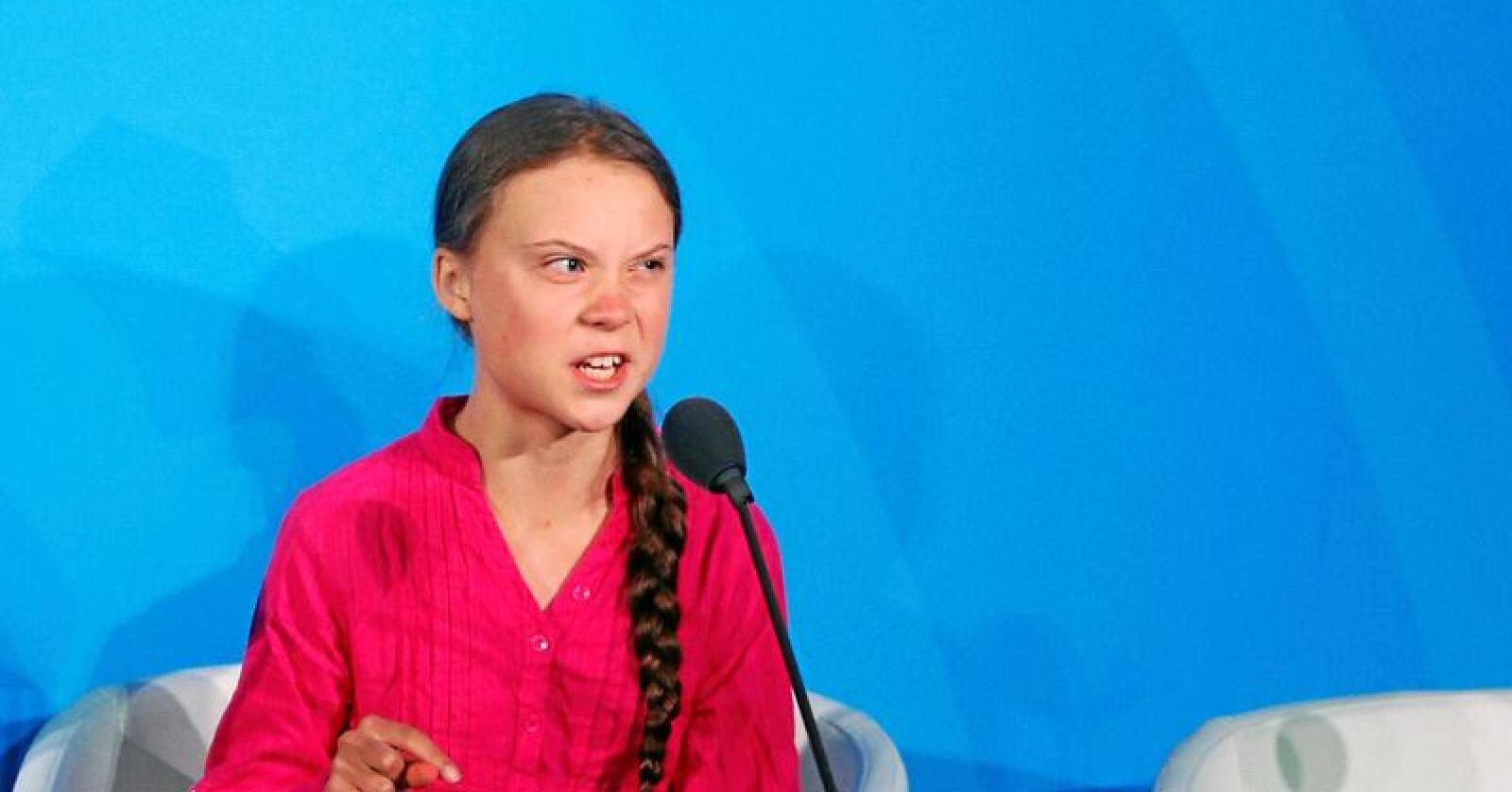 Anklager: Klimaaktivist Greta Thunberg med sterke anklager mot verdensledere på FNs høynivåmøte. Foto: Jason DeCrow/Ap/NTB scanpix