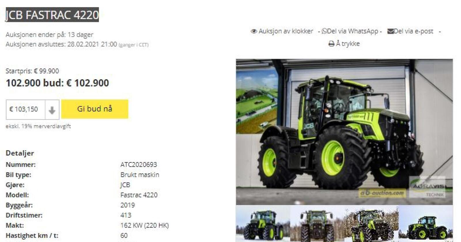 Spesiell: En JCB 4220 Fastrac er lakkert i fargene til de legendariske Mercedes-traktorene.