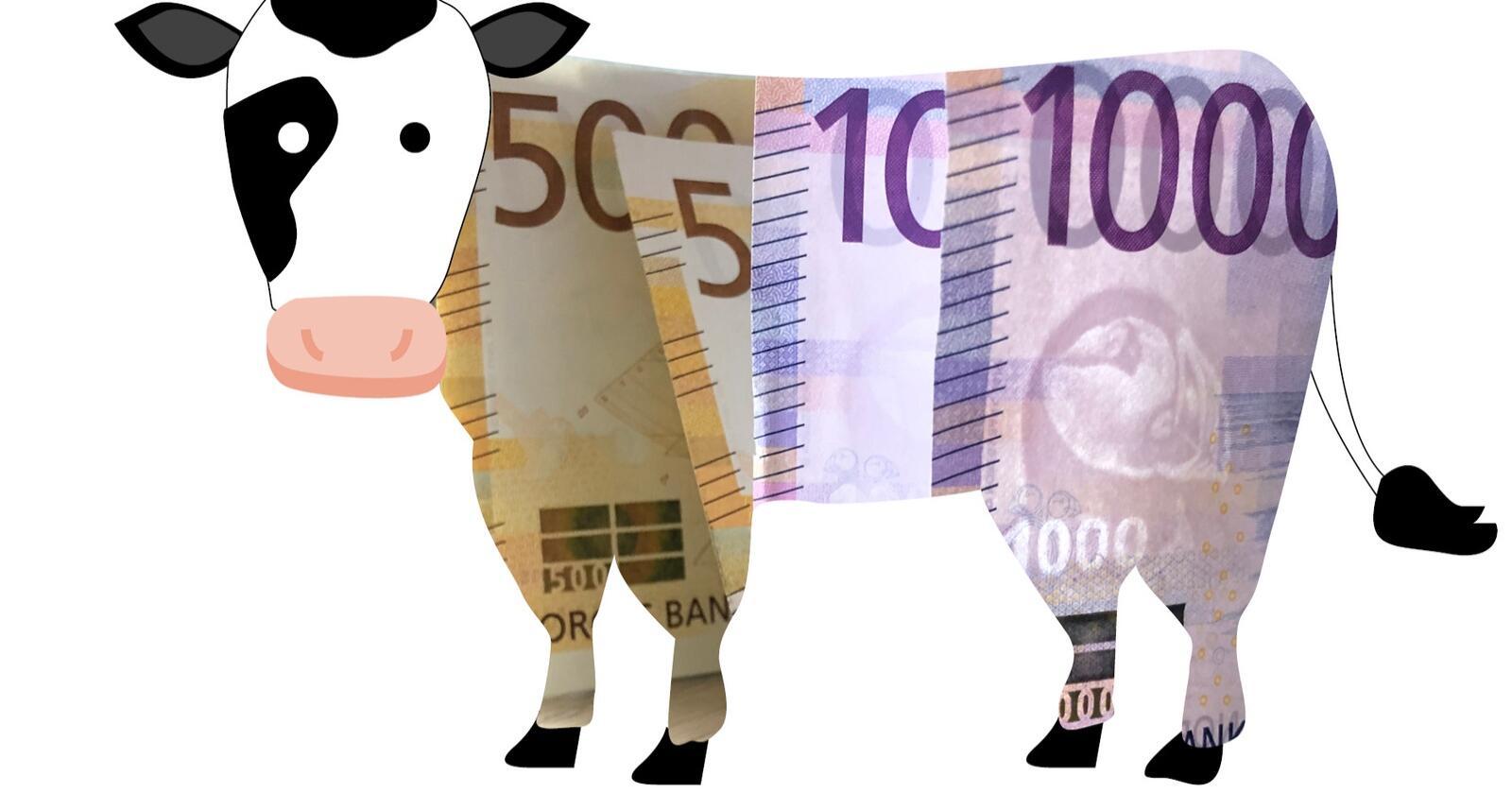 Bøndene krever mer penger for dyra og all annen mat de produserer. Illustrasjon: Käthe Friess