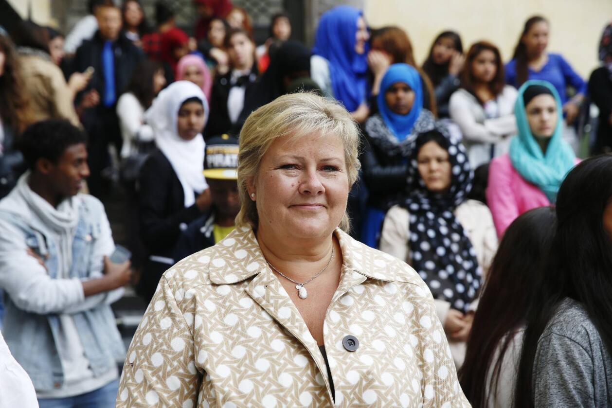 Erna Solbergs parti fosser fram til en oppslutning på over 30 prosent. Foto: Cornelius Poppe / NTB scanpix