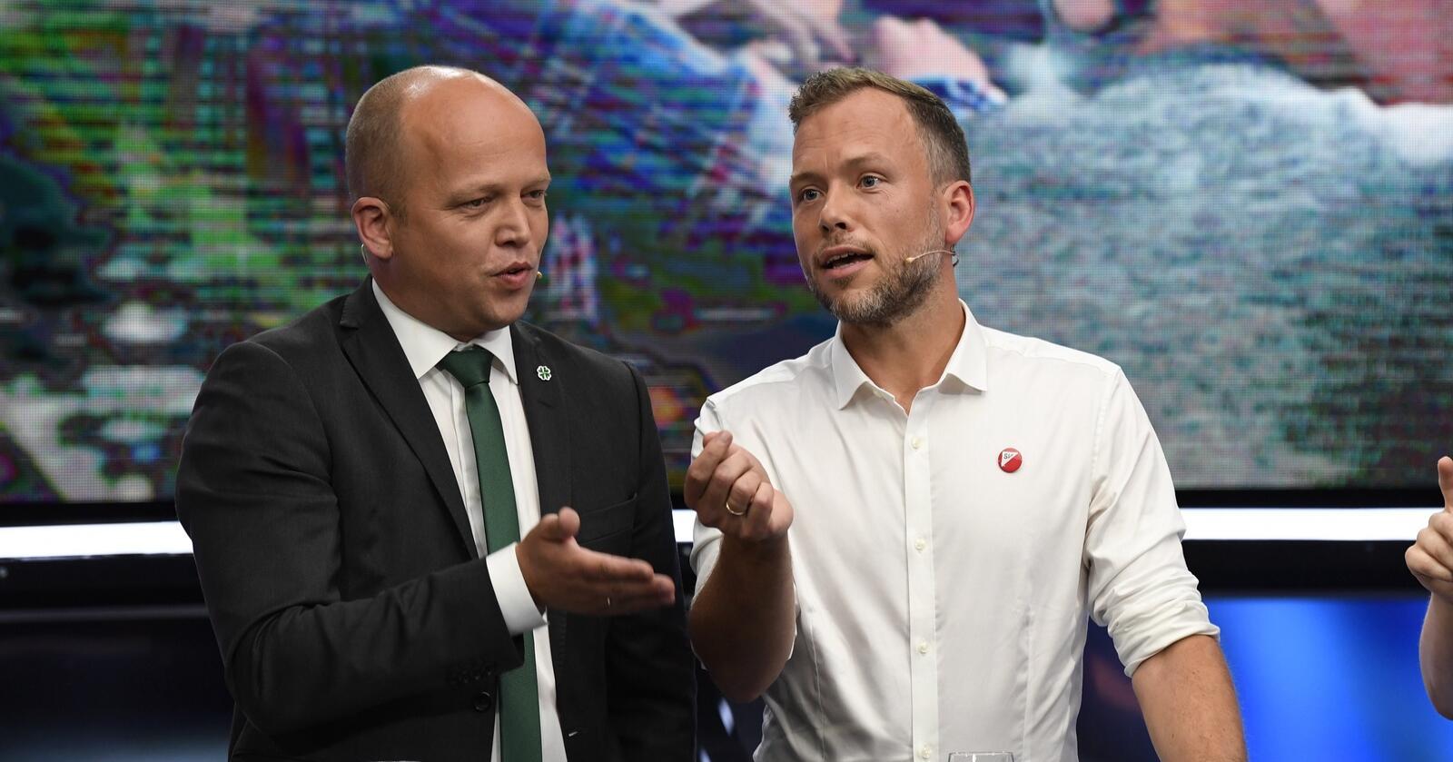 De fleste ordførerne til Trygve Slagsvold Vedum (t.v.) ønsker ikke at Audun Lysbakken (t.h.) og SV blir med Senterpartiet i en eventuell ny regjering. Foto: Marit Hommedal / NTB