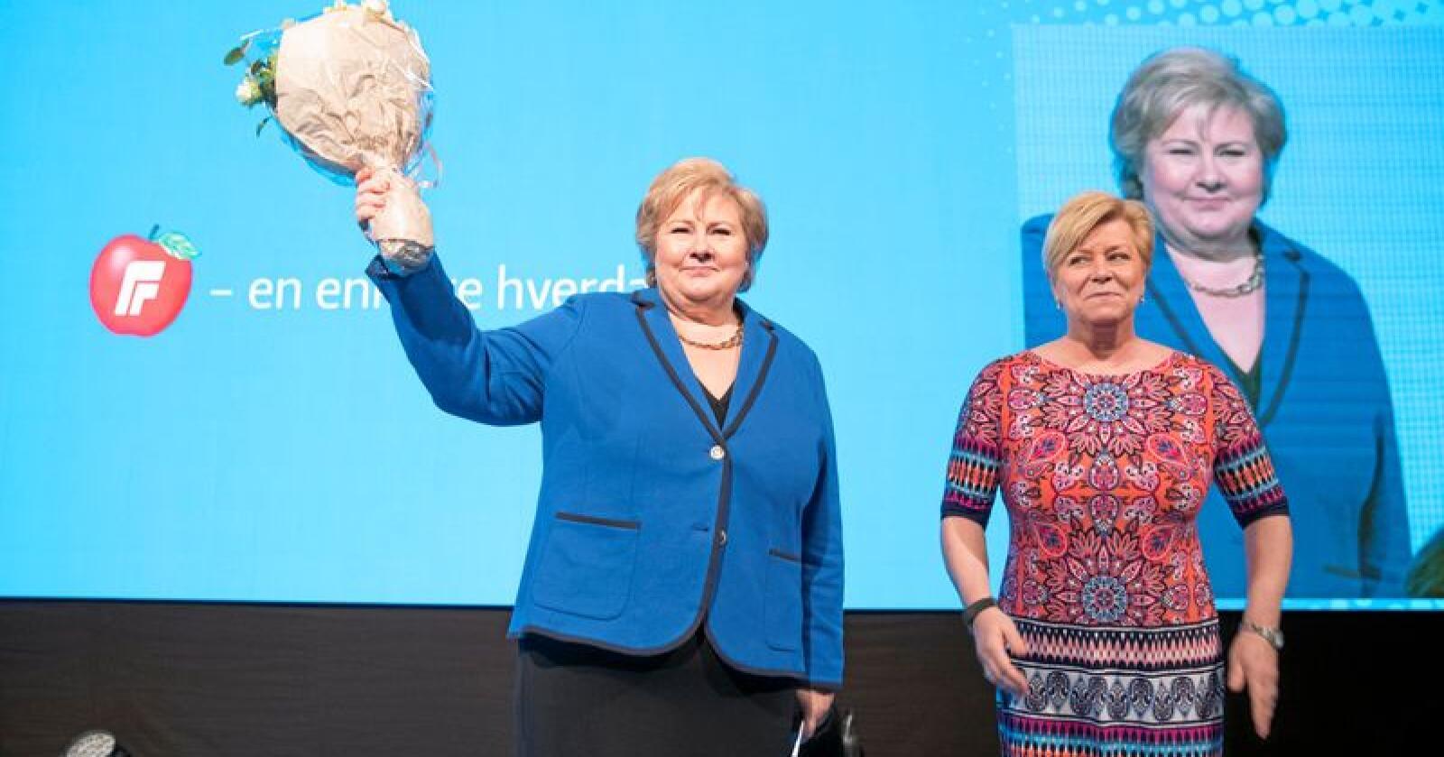 Statsminister Erna Solberg (H) og Frp-leder Siv Jensen. Foto: Terje Bendiksby / NTB Scanpix