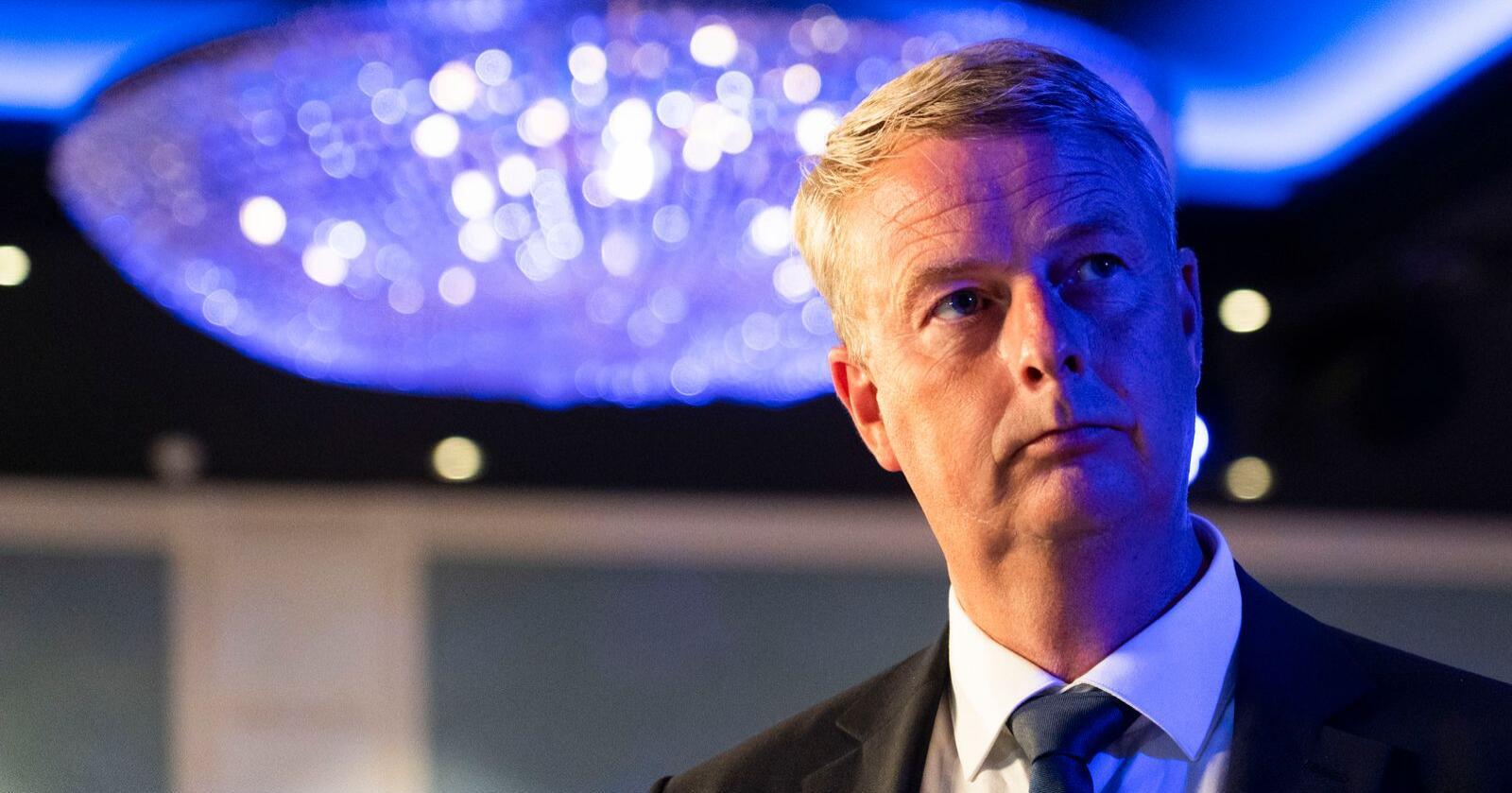 Terje Søviknes er på plass på Fremskrittspartiet valgvake på Hotel Bristol. Foto: Terje Pedersen/NTB