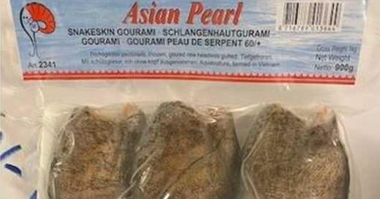 Sletten Norge AS trekker tilbake produktet «Asian Pearl, Snakeskin Gourami». Foto: Sletten Norge AS