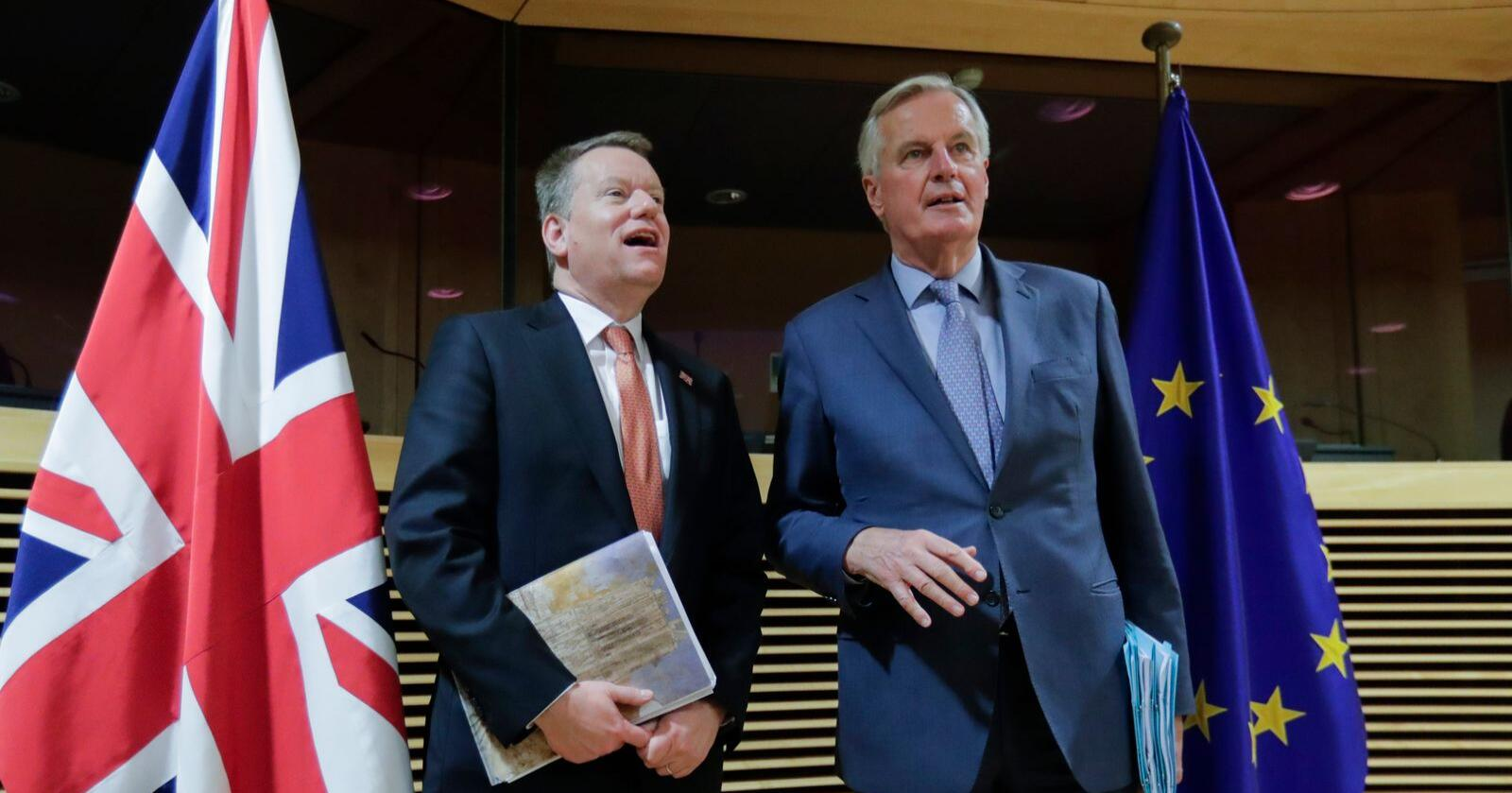 David Frost (t.v.) og Michel Barnier har denne uken ledet en ny forhandlingsrunde mellom EU og Storbritannia, den fjerde siden britene gikk ut av EU i vinter. Arkivfoto: Olivier Hoslet / AP / NTB scanpix