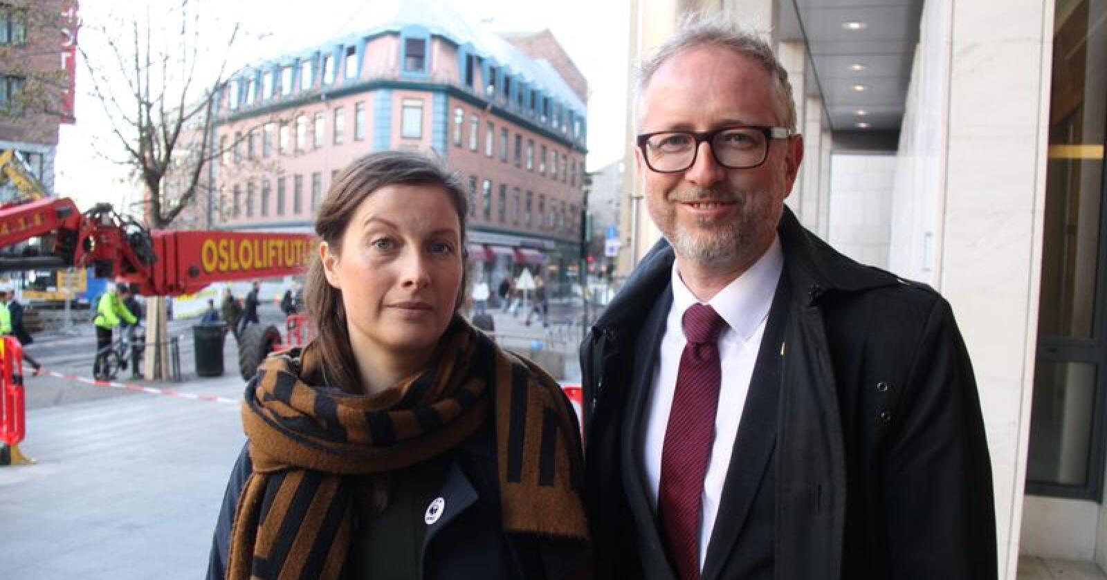 Ingrid Lomelde og Bård Vegar Solhjell på vei inn i Oslo tingrett i slutten av april, før første runde av ulveretssaken skulle begynne. Foto: Svein Egil Hatlevik
